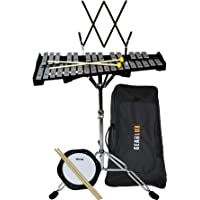 Gearlux 32-Note Glockenspiel Bell Kit with 8″ Practice Pad, Stand, Music Rest, Mallets, Drum Sticks, and Gig Bag