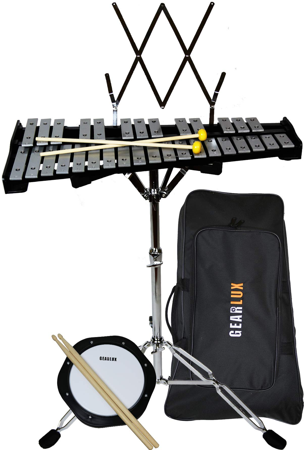 Gearlux 32-Note Glockenspiel Bell Kit with 8'' Practice Pad, Stand, Music Rest, Mallets, Drum Sticks, and Gig Bag by Gearlux