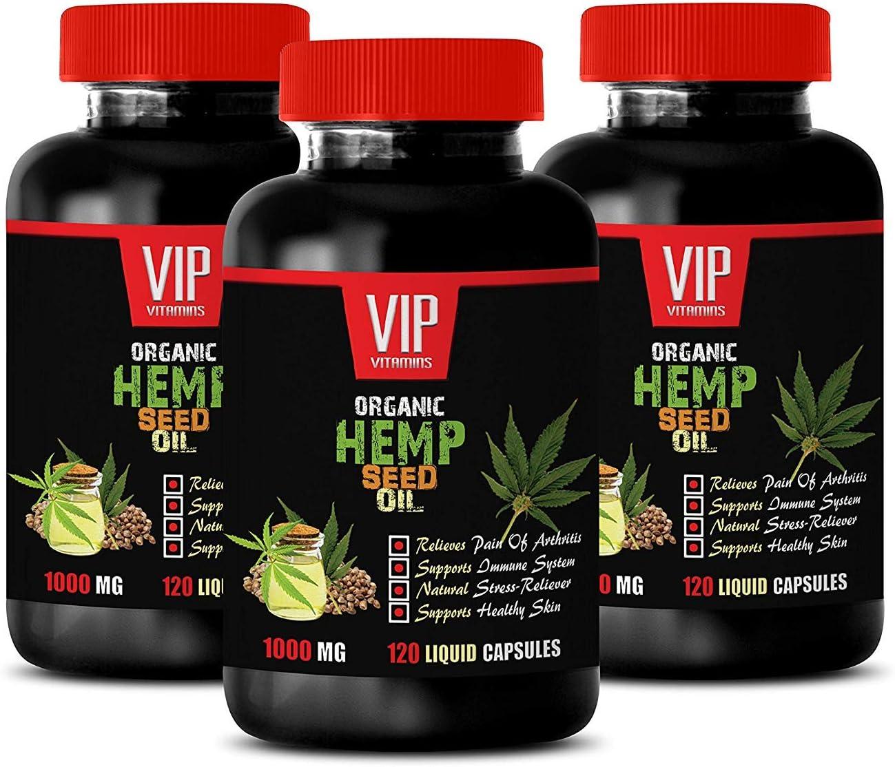 Anti inflammatory Pills - Organic Hemp Seed Oil 1000MG - Pain Relief - Brain and Heart Health - Fatty acids Oil - 3 Bottle (360 Liquid Caps)