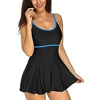KISSLACE Women One-Piece Swimsuit High Waist Shaping Straps Swimdress Bathing Suit