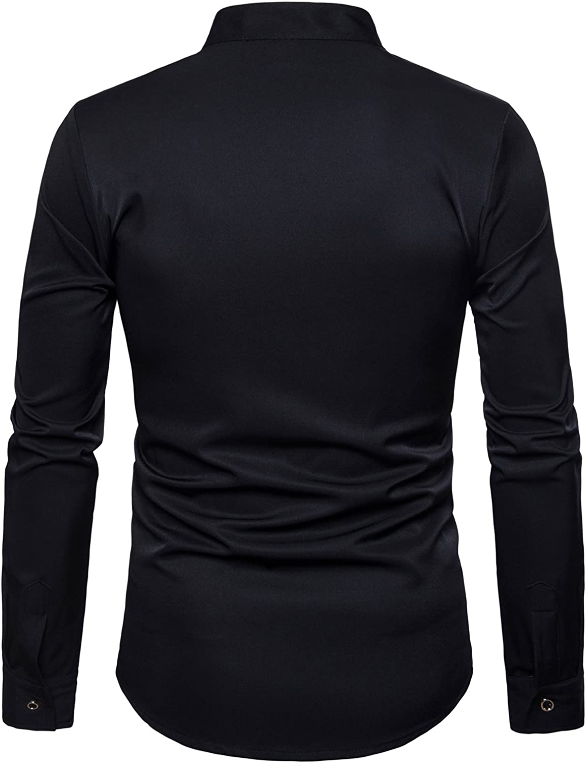 Men Autumn Casual Daily Tops Mens Hipster Fit Long Sleeve Button Embroidery Down Dress Shirts Tops