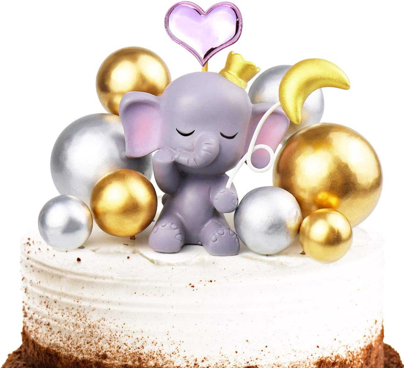 Phenomenal Amazon Com Vodolo Pink Elephant Cake Topper Cute Resin Baby Birthday Cards Printable Trancafe Filternl