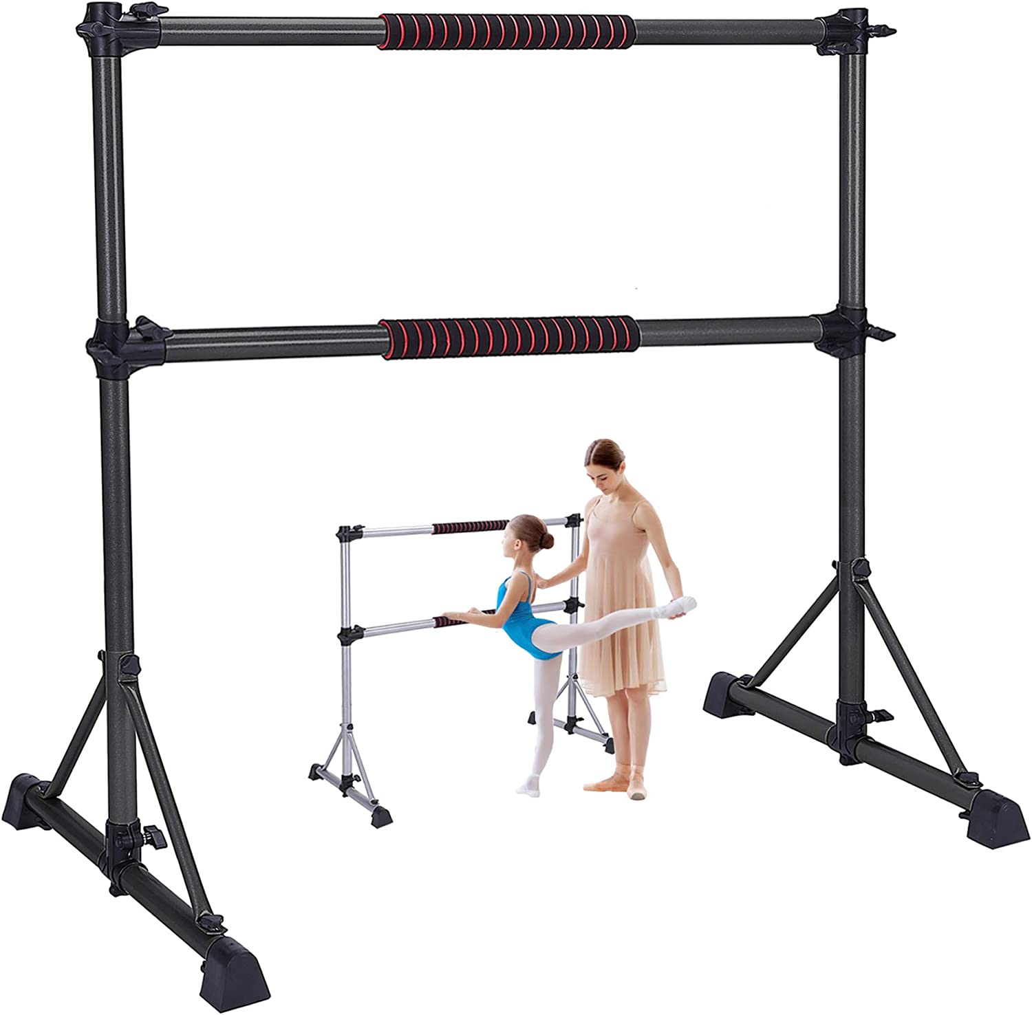 Excess Essentials 4ft Adjustable Portable Freestanding Ballet Barre - for Home Gym, Fitness with Carry Bag, Kids Dance, Gymnastics Tool, Adults Booty Workout Pole, Heavy-Duty, Double Stretching Bars