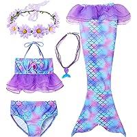 Conjunto de 5 Piezas Cola de Sirena para Nadar para niñas Traje de baño Sirena Incluyendo Coronas y Collares