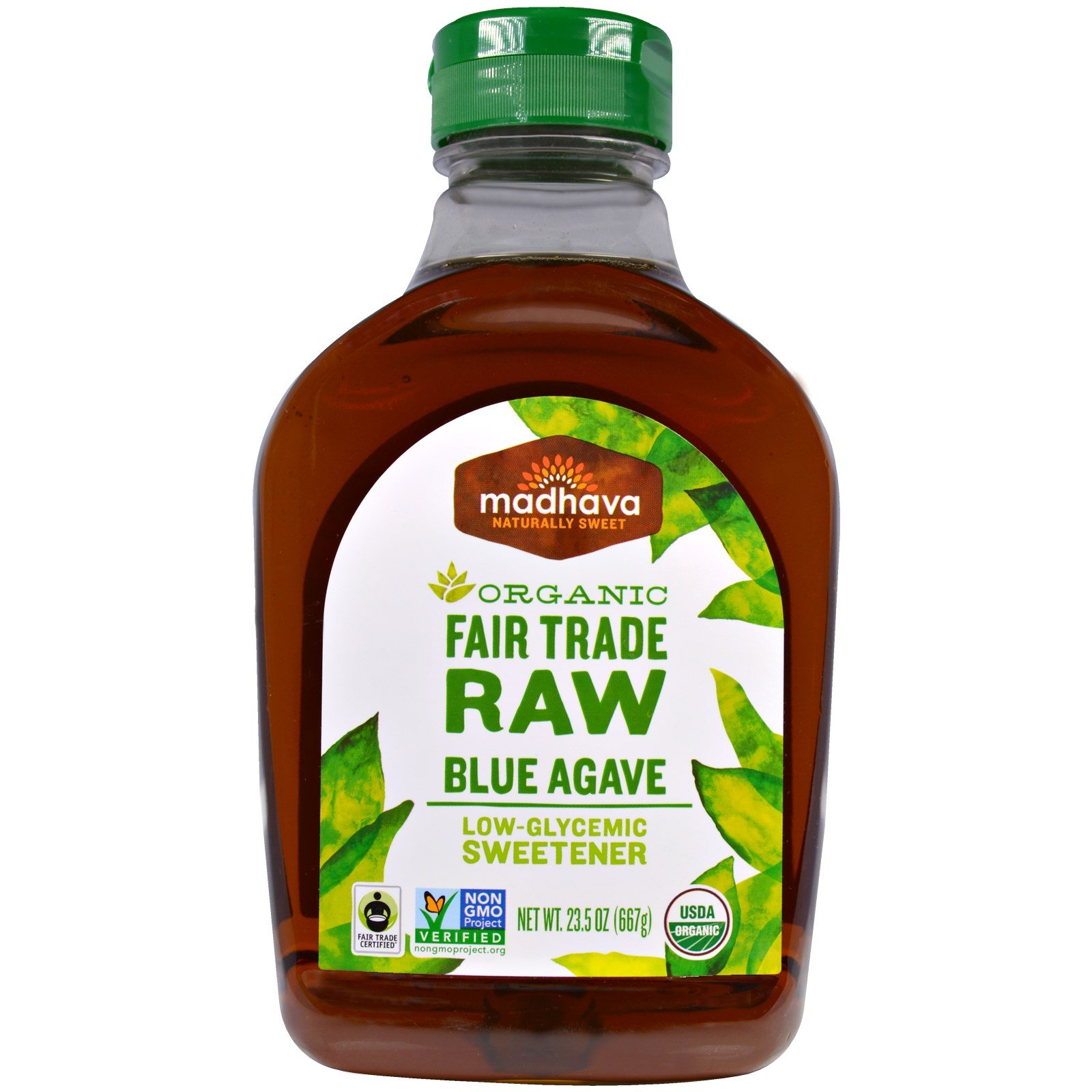 Madhava Natural Sweeteners, Organic Raw Agave Nectar, 23.5 oz (667 g) - 2pcs