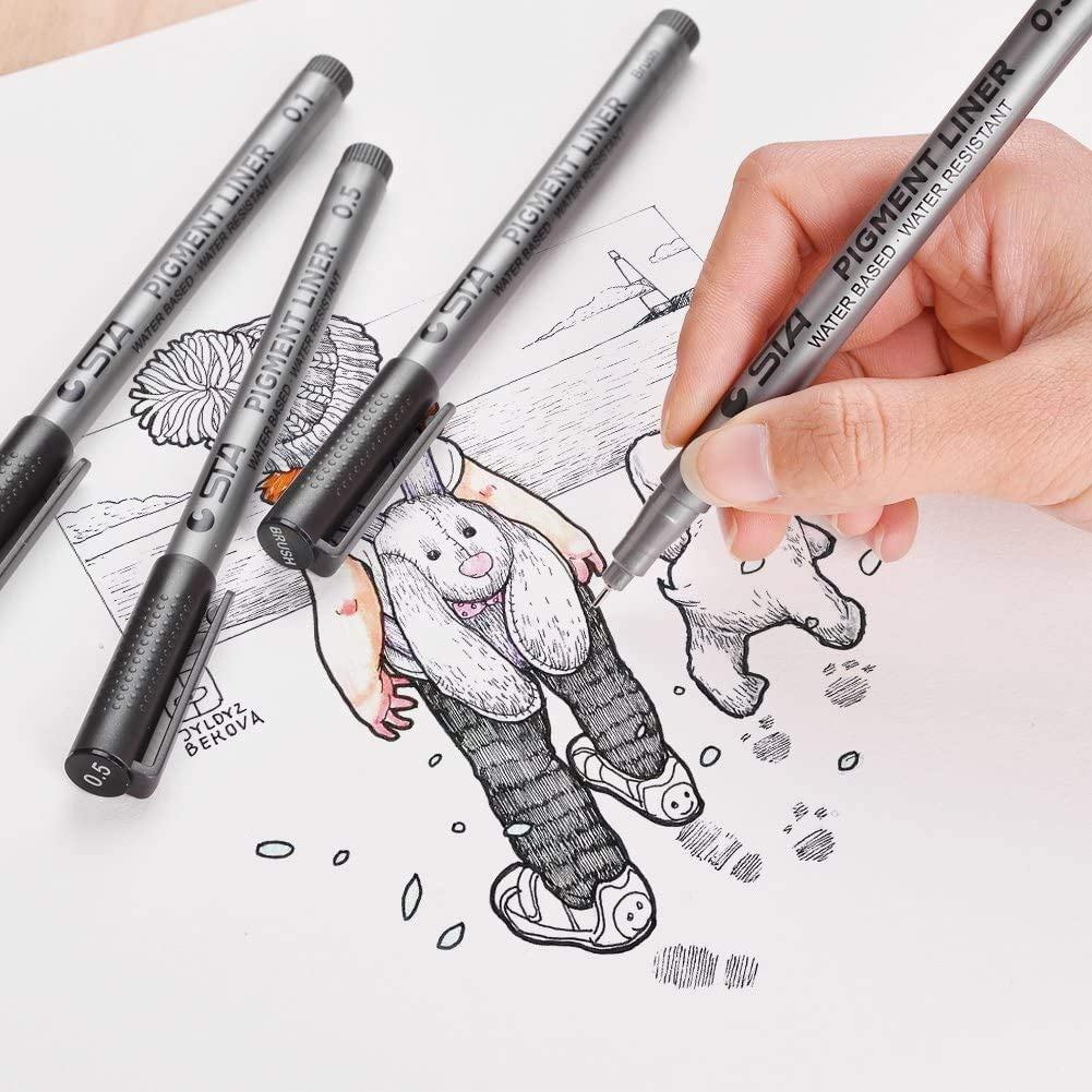 Black Micro-Pen Fineliner Ink Pens Comic Technical Drawing Anime Bullet Journaling Manga Waterproof Archival Ink Micro Fine Point Drawing Pens for Sketching Artist Illustration
