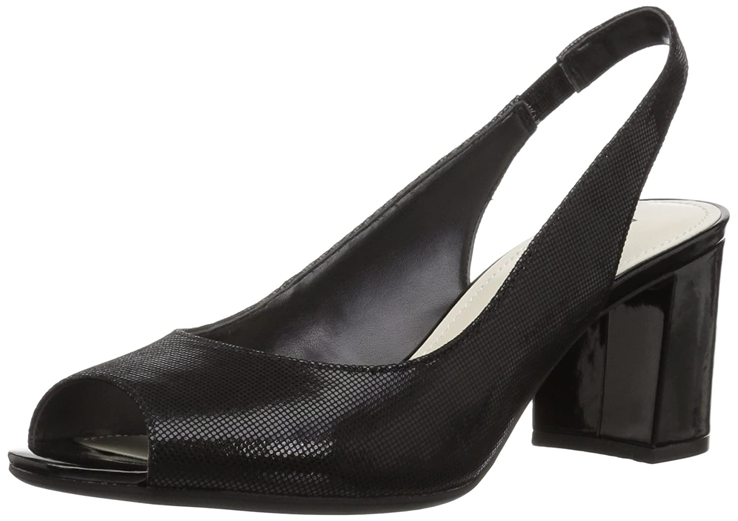 Anne Klein 9.5 Women's Maurise Peep Toe Sling-Back Pump B07BL6LS1X 9.5 Klein M US|Black Fabric bbc167