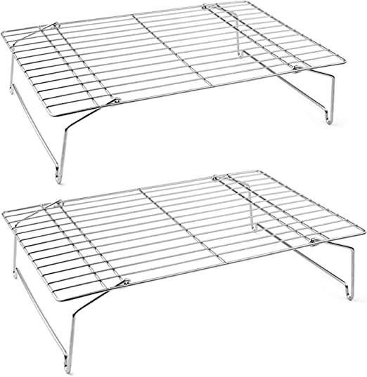 PP Chef 2-Tier Stackable Stainless Steel Wire Racks For Bakin Details about  /Cooling Rack Set