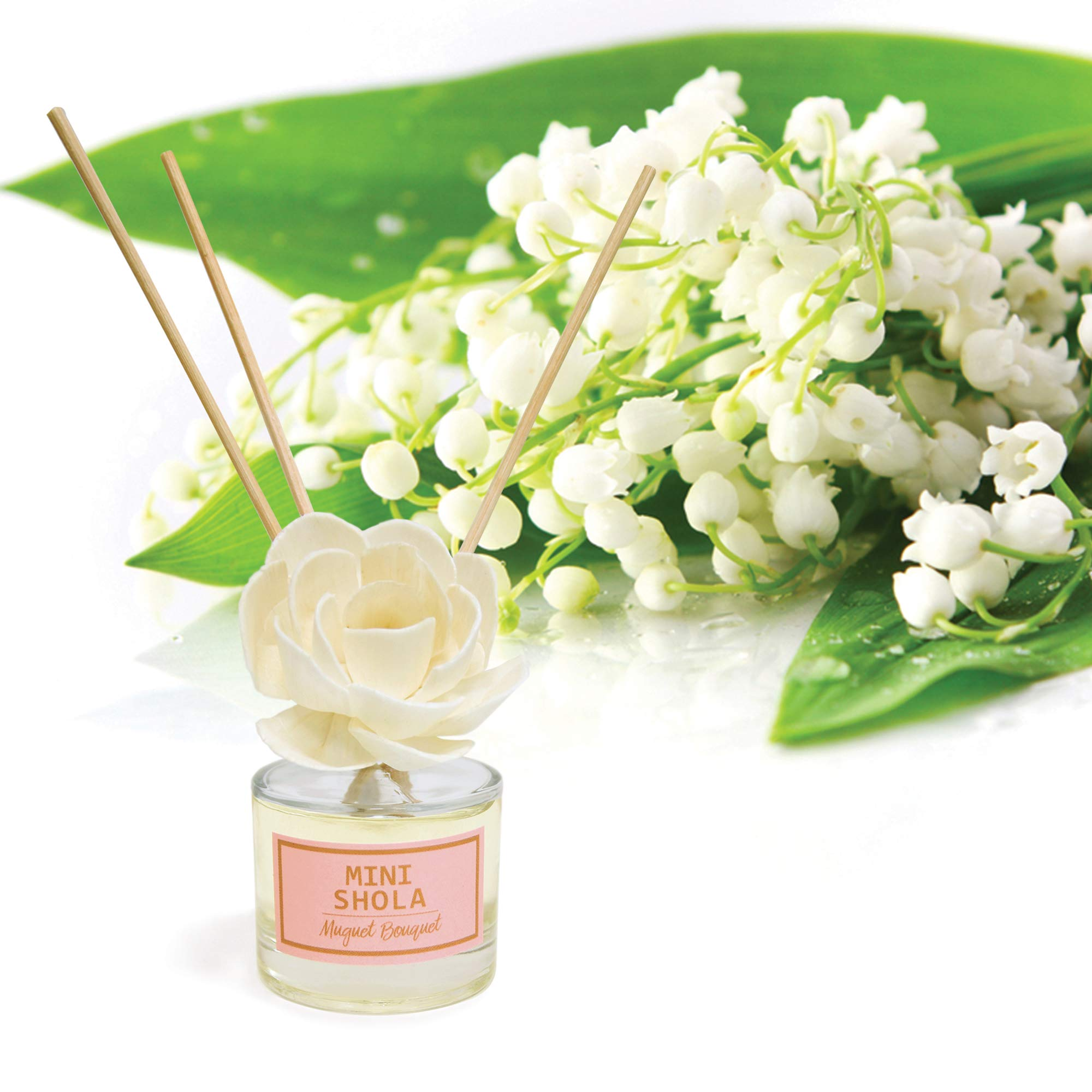 Aronica Mini Floral Diffuser 2 Pack Set - Sola Flower White Rose (40ml) + Muguet (40ml) by Aronica (Image #2)
