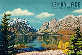 product image for Grand Teton National Park, Wyoming, Jenny Lake, Oil Painting 98025 (16x24 SIGNED Print Master Art Print, Wall Decor Poster)