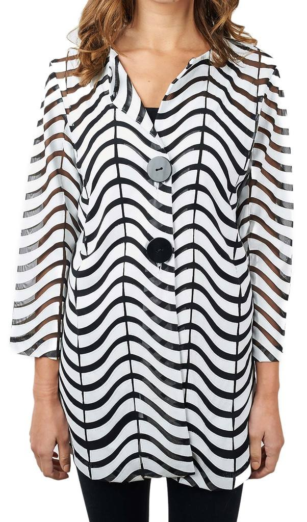 Joseph Ribkoff Black & White Semi-Sheer Zig Zag Striped Jacket Style 171816 - Size 16 by Joseph Ribkoff