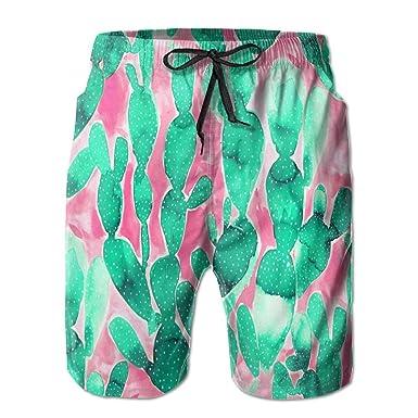 Alin Z Cactus Draw Pattern Mens Quick Dry Swim Trunks Beach Surfing Shorts