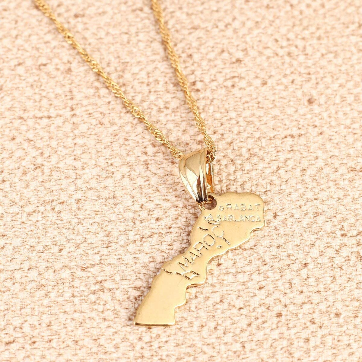 Gold Color Maroc Map Pendant Necklace For Women Men Morocco Map Jewelry