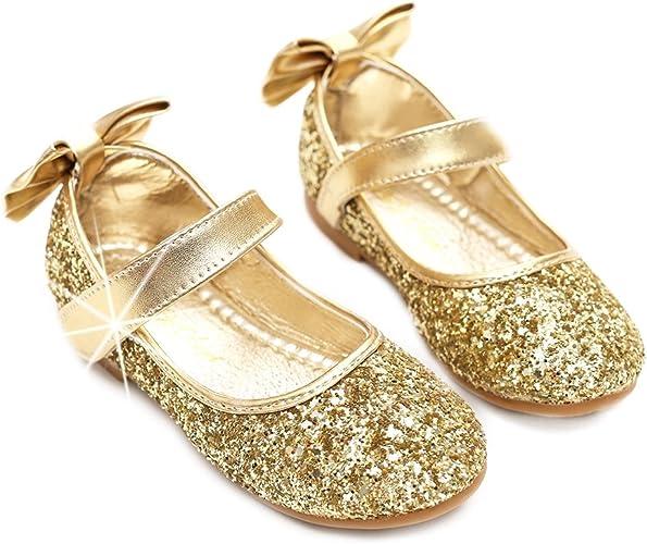 nerteo Girl/'s Dress Shoes Mary Jane Princess Glitter Ballet Flats Gold Glitter 3