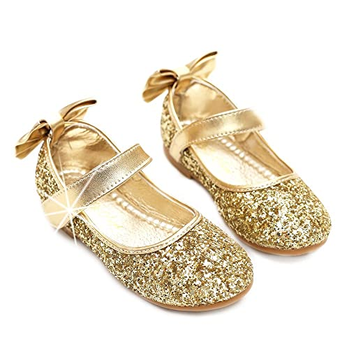 c60a2b28777c Manka Vesa Child Girl Round-Toe Sparkle Bowknot Ballet Ballerina Flat Shoes  Gold