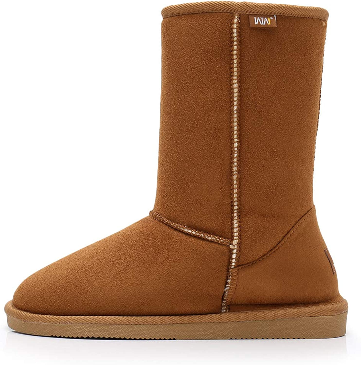 """Women/'s Winter Boots Fashion Suede 10/"""" Mid Calf Shearling Warm Fur Shoes Sizes"""