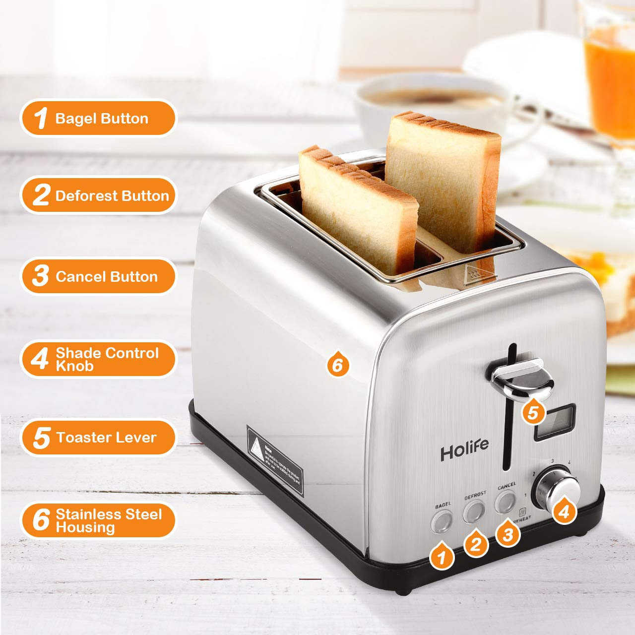 2 Slice Toaster LCD Timer Display Bagel Toaster HOLIFE Stainless Steel Toaster 6 Bread Shade Settings, Bagel//Defrost//Reheat//Cancel Function, Wide Slots, Removable Crumb Tray, 900W, Silver