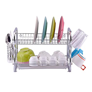 Toplife 2 Tier Stainless Steel Rust Proof Kitchen Dish Drainer Drying Rack