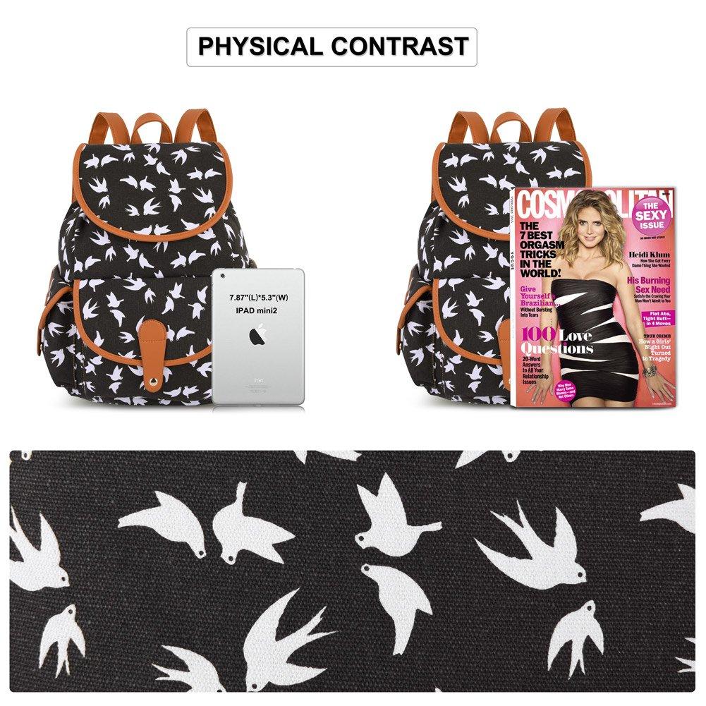 Vbiger Canvas Backpack for Women & Girls Boys Casual Book Bag Sports Daypack (Bird Black) by VBIGER (Image #6)