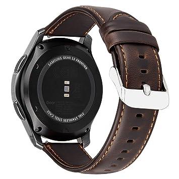 MroTech Gear S3 Bracelet de Montre,22mm Accessoire Bande de rechange en Cuir véritable pour