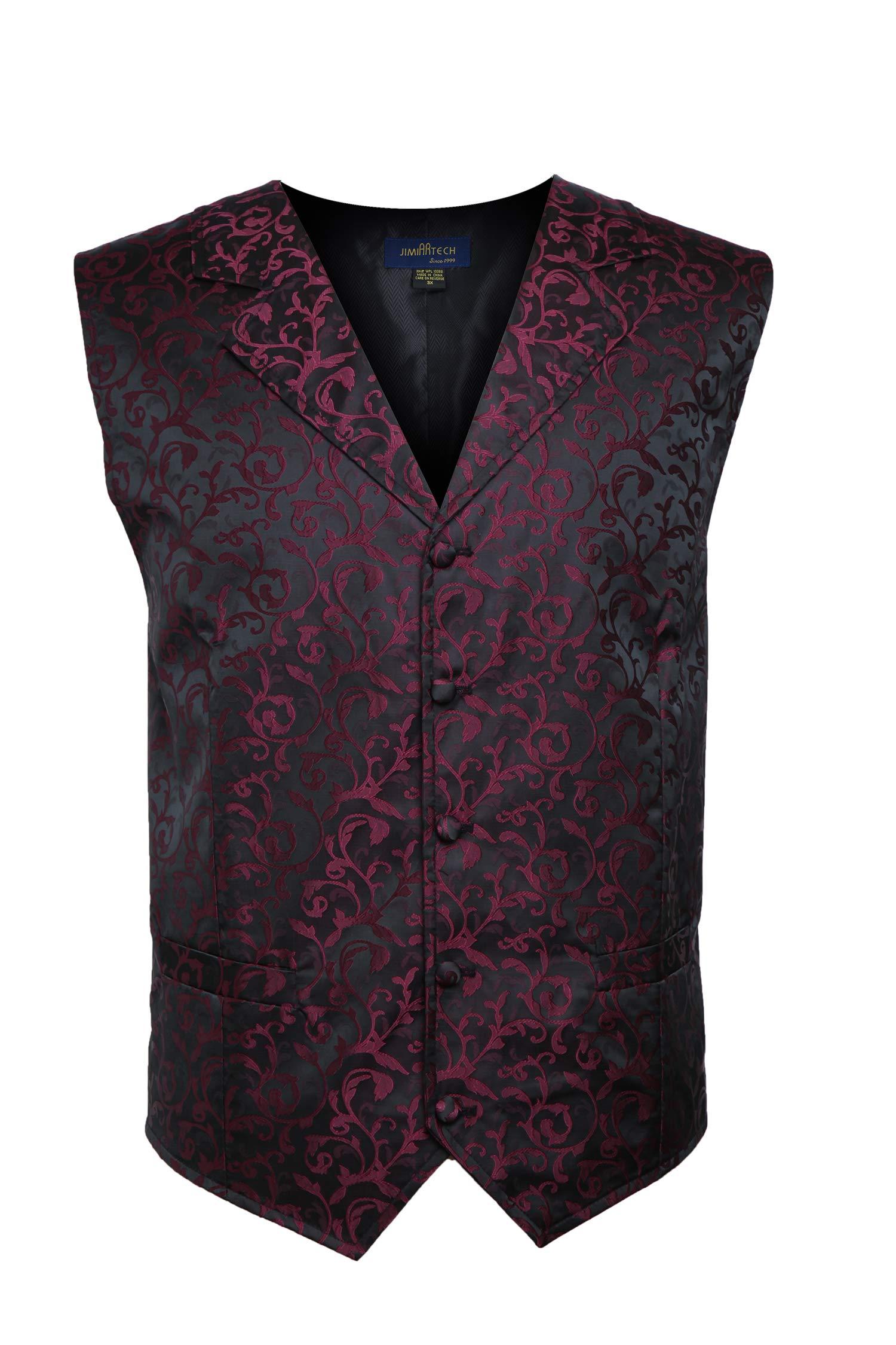 JIMIARTECH Men's Suit Vest Jacquard Fabric Vest for Men Business Vest Dress Vest Waistcoat 5 Button Vest(XL-Burgundy) by JIMIARTECH