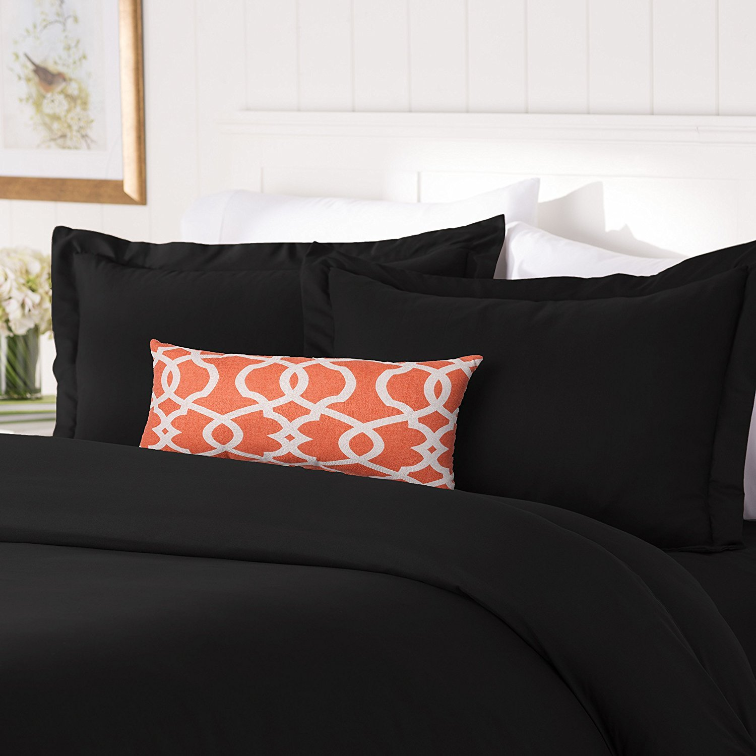 Elegant Comfort #1 Best Bedding Duvet Cover Set! 1500 Thread Count Egyptian Quality Luxurious Silky-Soft Wrinkle Free 2-Piece Duvet Cover Set, Twin/Twin XL, Black FBA_COMINHKPR131068