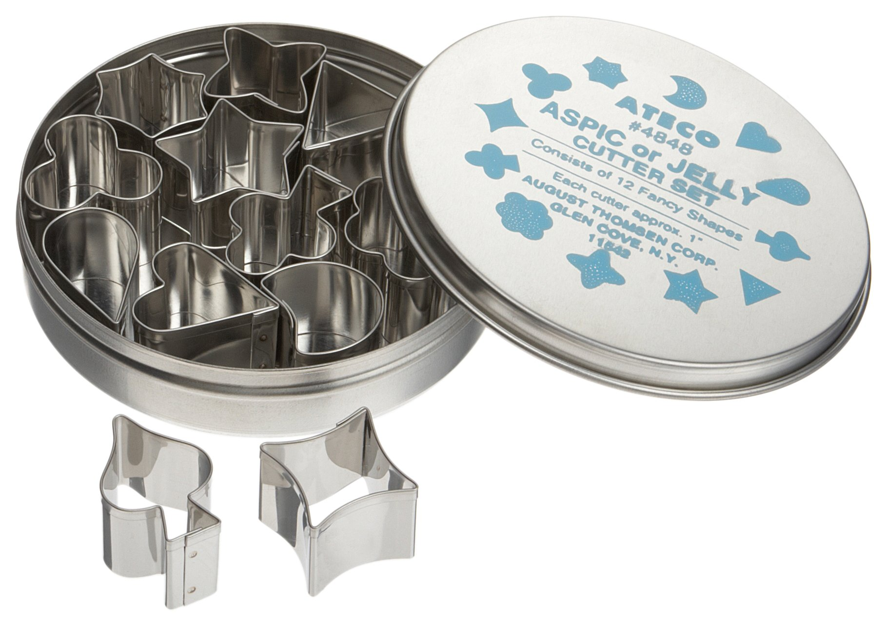 Ateco 4848 Plain Edge Aspic or Jelly Cutter Set in Assorted Shapes, Stainless Steel, 12 Pc Set