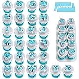 FANGSUN Alphabet & Numbers Fondant Cake Mold, Cookie Stamp Impress, Embosser Cutter, Upper Case Numbers Shape DIY Cookie…