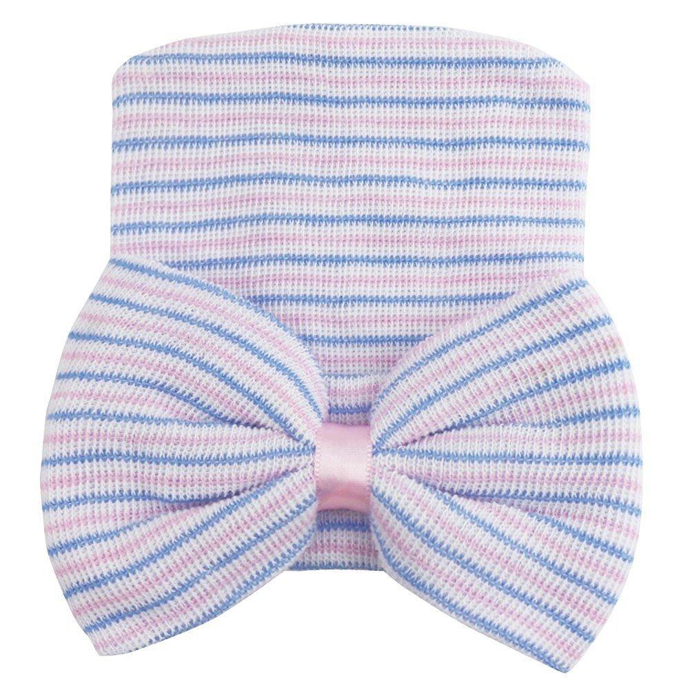 Bluelans® Newborn Baby Girls Cotton Stretchy Bow Beanie Hat Photo Props Accessories