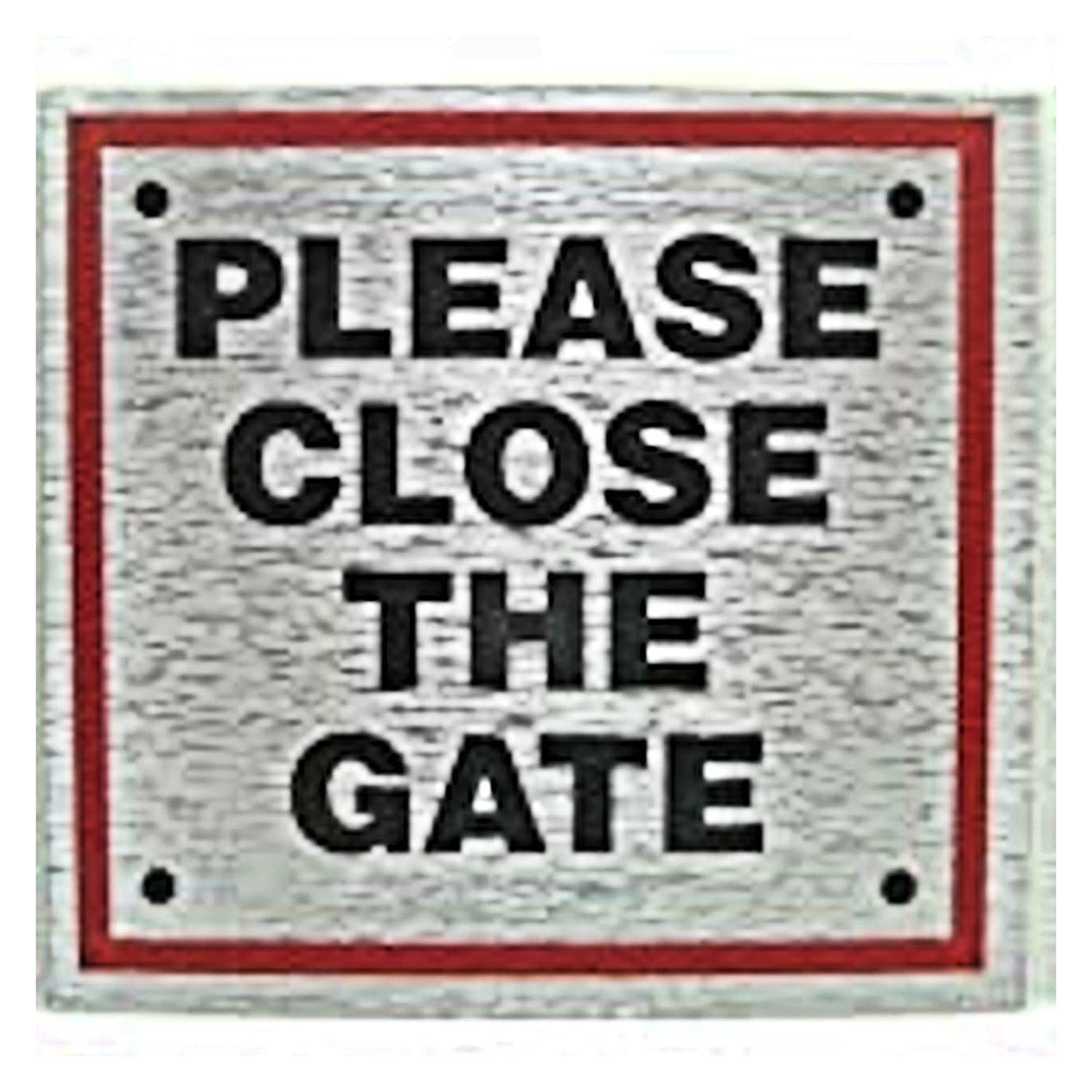 eCobbler Stick on Sign 8X8cm red boarder - Please Close The Gate