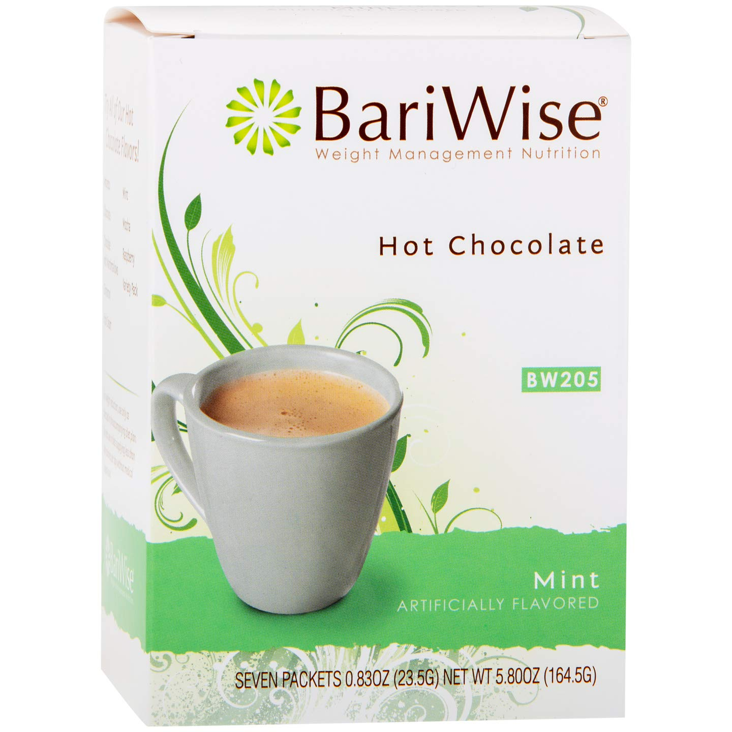 BariWise High Protein Hot Cocoa - Instant Low-Carb, Low Calorie Hot Chocolate Mix with 15g Protein - Mint (7 Count)
