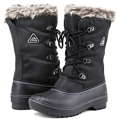 ALEADER Women's Warm Faux Fur Lined Mid Calf Winter Snow Boots   Snow Boots