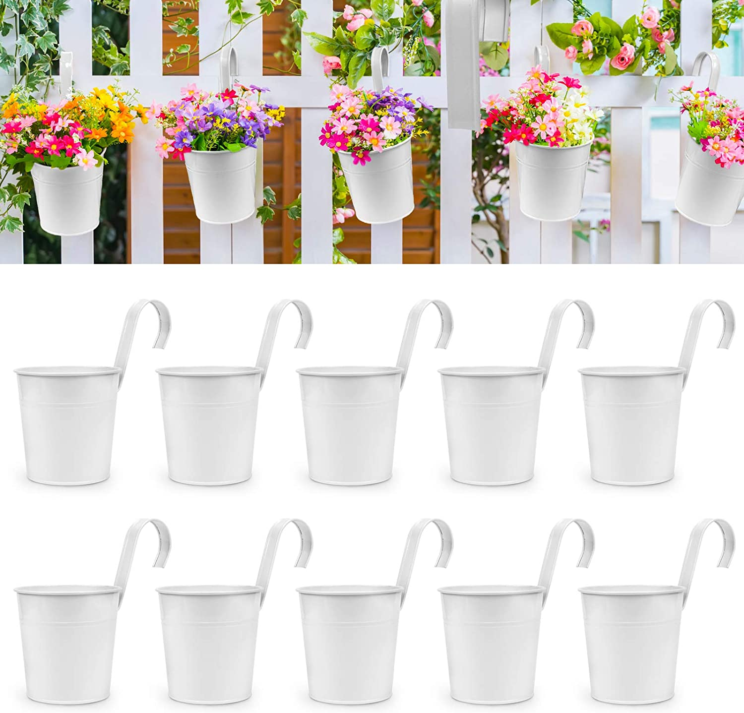 OGIMA 10Pcs Hanging Flower Pots, Metal Iron Wall Planter Indoor/Outdoor for Railing Fence Balcony Garden Home Decoration with Detachable Hooks