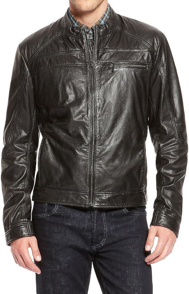 Mens Genuine Cow Leather Jacket Slim Fit Biker Motorcycle Jacket LTC273