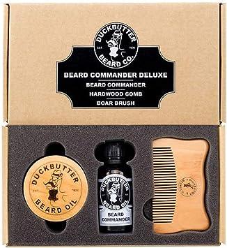Estuche/set de regalo de lujo de aceite para barba DUCKBUTTER – Aceite para barba Beard Commander con cepillo de cerdas de jabalí y peine: Amazon.es: Salud y cuidado personal