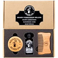 DUCKBUTTER Beard Oil Deluxe Gift Set - Beard Commander with Boar Brush & Comb