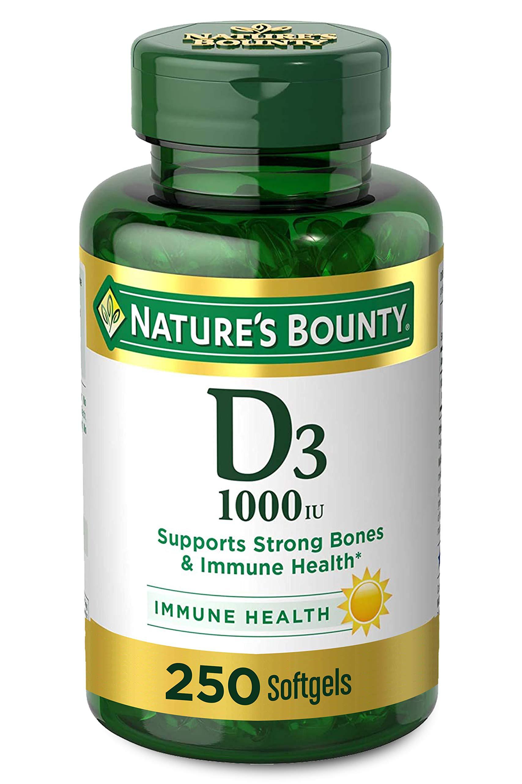 Vitamin D by Nature's Bounty for immune support. Vitamin D provides immune support and promotes healthy bones. 1000IU, 250 Softgels