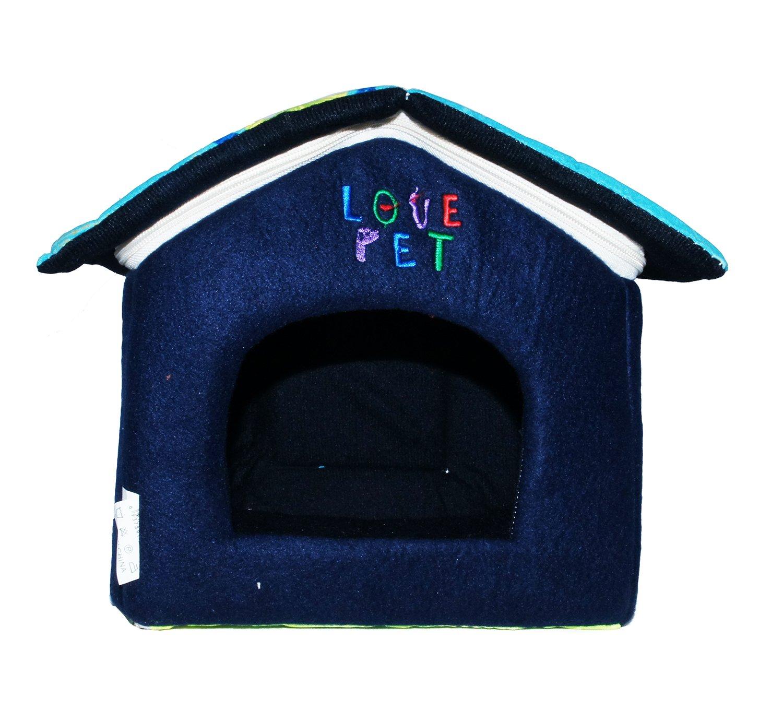 LOVE PET - Caseta de Tela Plegable/ Cuna Perro/ Habitación Portátil/ Nido Mascota para Perros, Gatos con forma de casa (motivo espirales azul, ...