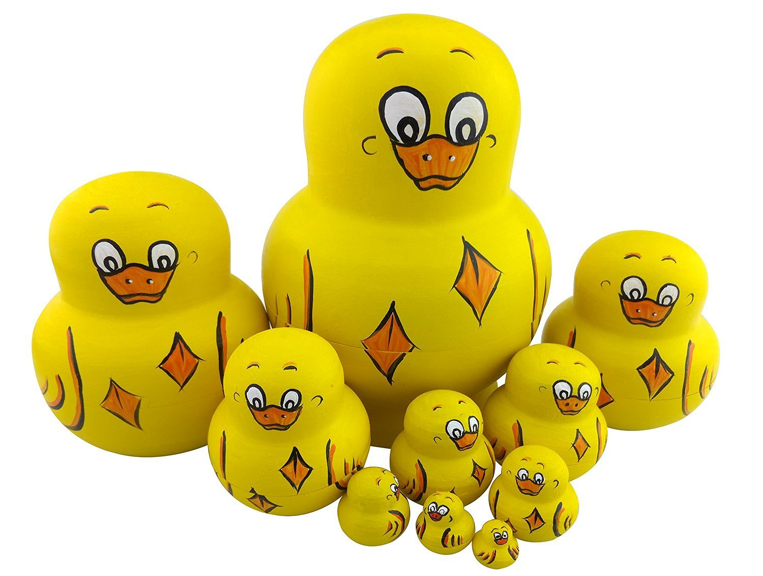 Cute Lovely Animal Yellow Duck Handmade Wooden Russian Nesting Dolls Matryoshka Dolls Set 10 Pieces For Kids Toy Christmas Gift Home Decoration