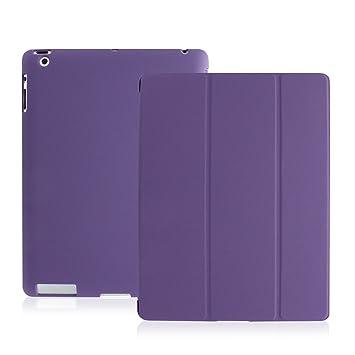 KHOMO Funda iPad 2, 3, 4 - Carcasa Morada Protectora Ultra Delgada y Ligéra con Smart Cover y Soporte para Apple iPad 4 Retina, iPad 3, iPad 2 - Dual ...