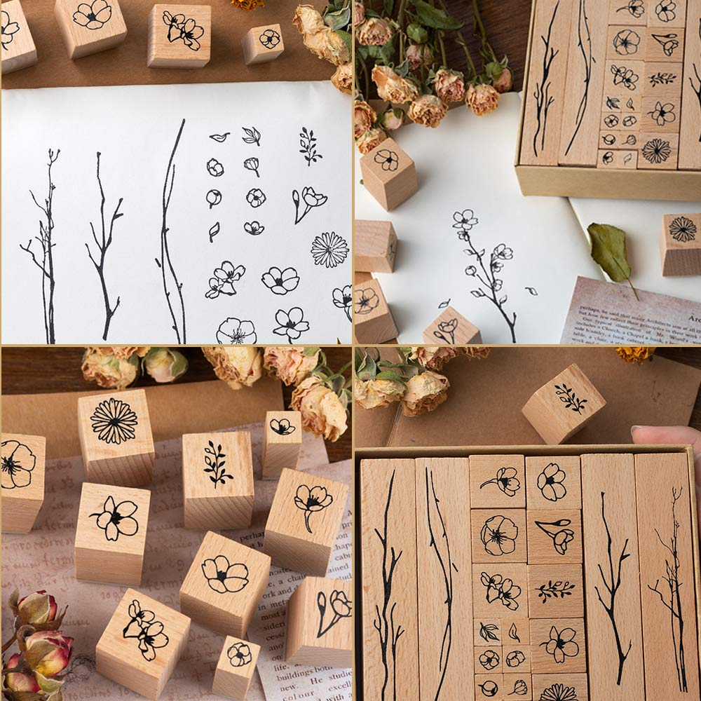 Letters Diary and Craft Scrapbooking Plant /& Flowery Decorative Mounted Rubber Stamp Set for DIY Craft 7 Pieces Vintage Wooden Rubber Stamps
