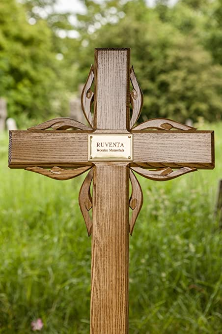 55 Wooden Memorial Cross Solid Oak Grave Marker Personalised Plaque