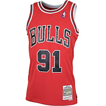 new product b5116 2377a Mitchell & Ness Chicago Bulls 91 Dennis Rodman Swingman ...