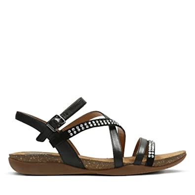 Clarks Autumn Peace LeatherSynthetic Sandals in Black Standard Fit Size 5½