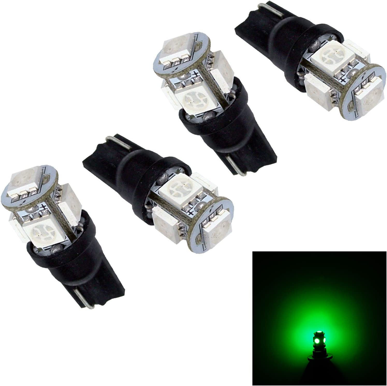 PA 4pcs 5 SMD LED T10 921 T15 194 Auto Side Marker Light Tail Light Turn Signal Light //Driving Light Bulbs Green-12V Per-Accurate Inc.
