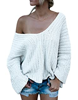 20d2dc442 Beautife Women Off Shoulder Long Sleeve Knit Loose Oversized ...