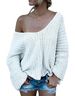 20d2dc442 Beautife Women Off Shoulder Long Sleeve Knit Loose Oversized ...