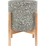 "Amazon Brand – Rivet Terrazzo Planter with Wood Stand, 12.6""H, Gray"