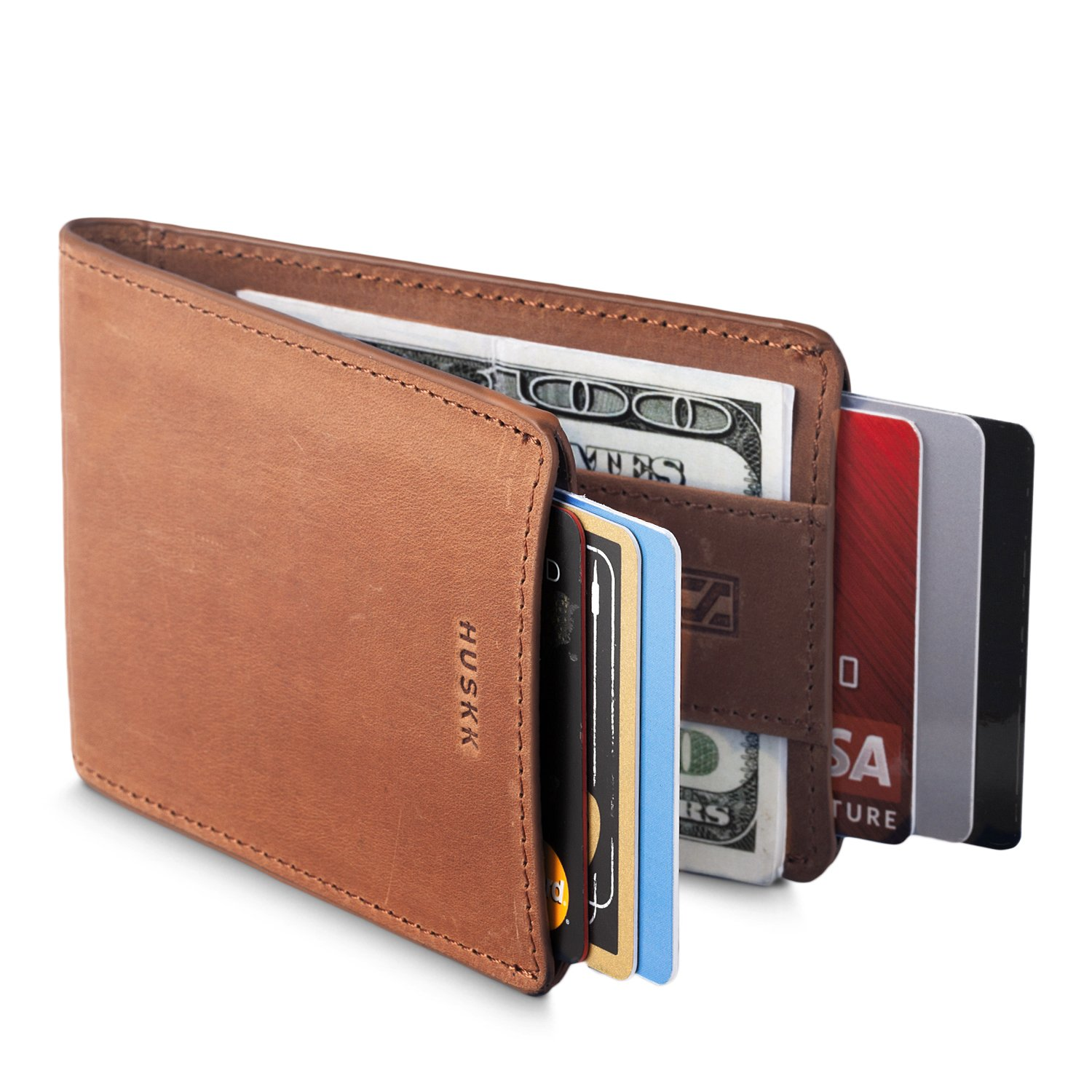 HUSKK Leather Wallet for Men - Credit Card Sleeve Holder With Money Strap [CSBW2-B]
