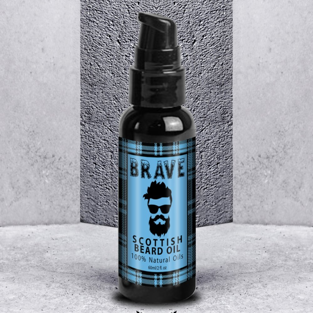 Brave Beard Oil 60ml - A Premium Scottish Beard Oil Blend - Smoothes, Nourishes and Thickens Beard with a Light Fresh Scent, Non Greasy. skin radiance